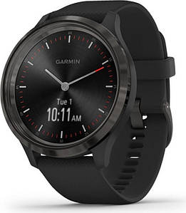 GARMIN Vivomove 3 Slate Stainless Steel Bezel with Чорний Case and Silicone Band (010-02239-01)