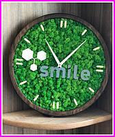 Деревянные Эко-часы 30 см со стабилизированным мхом настенные Оригинальный декор подарок Годинник дерев'янний