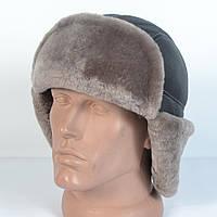 Мужская шапка-ушанка из натуральной кожи и овчины (код 29-301)