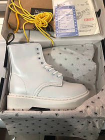 Ботинки  Dr.Martens Jadon white  fur (с мехом)  Натуральная Кожа и Мех Женские, Білі черевики