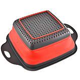 Силіконовий друшляк квадратний складаний малий 24,5 см, фото 2