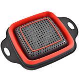 Силіконовий друшляк квадратний складаний малий 24,5 см, фото 3