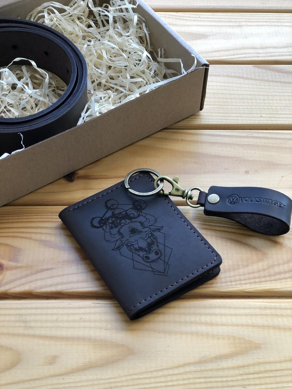 Шкіряна обкладинка права, id паспорт, водійське посвідчення Theo (Ручна робота)