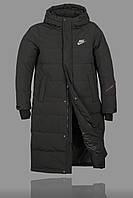 Зимняя Удленённая Куртка Nike 5741 Чёрная