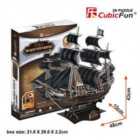 """Тривимірна головоломка-конструктор корабель """" помста королеви анни cubicfun (T4005h)"""
