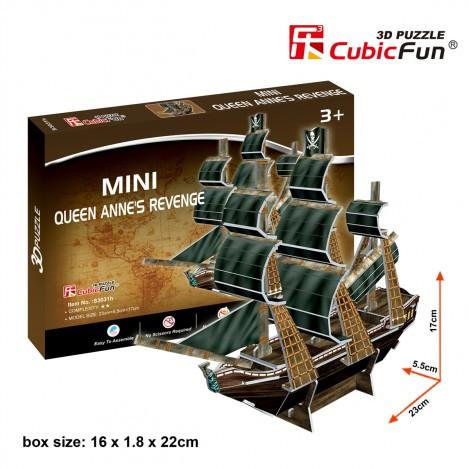 Тривимірна головоломка-конструктор корабель помста королеви Анни серія міні cubicfun (S3031h)