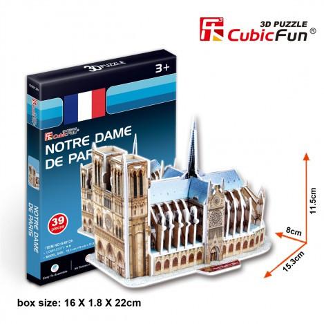 Тривимірна головоломка-конструктор 3d пазл Собор Паризької Богоматері міні (Тауерський міст)