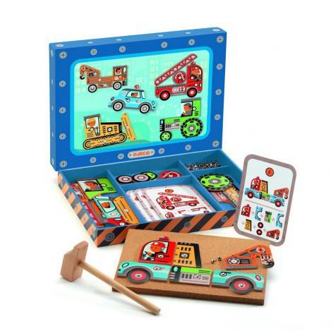 Дерев'яна гра аплікація з молоточком транспорт Djeco (DJ06641)