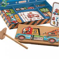 Дерев'яна гра аплікація з молоточком транспорт Djeco (DJ06641), фото 2