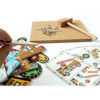 Дерев'яна гра аплікація з молоточком транспорт Djeco (DJ06641), фото 4