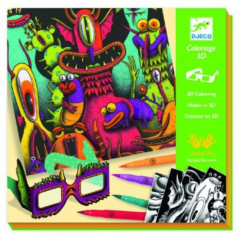 Набор для творчества с 3d эффектом веселые монстры (фантастический лес) (DJ08651)