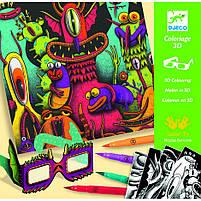 Набор для творчества с 3d эффектом веселые монстры (фантастический лес) (DJ08651), фото 3