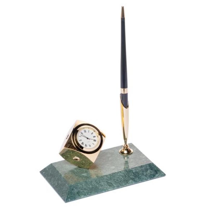 Мраморная подставка на стол для ручки с золотыми часами
