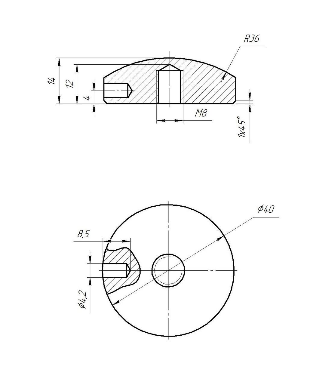 ODF-06-39-01 Коннектор круглый прижимной сферический с боковым отверстием, резьба м8, сатин