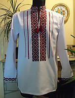 """Чоловіча сорочка-вишиванка """"Візерунок червоний"""", на білому полотні, розмір 48-50"""