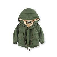 Детская куртка для мальчика на травке хаки, детская парка для мальчика. размеры: 110, 130
