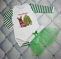 Костюм новогодний р. 74 девочке с фатиновой юбкой Счастливое Рождество