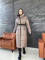 Зимнее женское пальто из эко кожи с поясом, фото 1