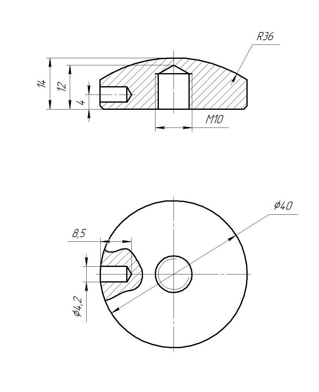 ODF-06-40-02 Коннектор круглый прижимной сферический с боковым отверстием, резьба м10, полированный