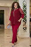 Нарядный брючный костюм женский  Тройка Размер 50 52 54 56 58 60 62 64 В наличии 4 цвета, фото 2