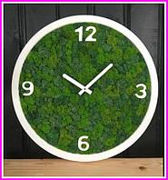 Деревянные Эко-часы 40 см со стабилизированным мхом настенные Оригинальный декор подарок Годинник дерев'янний