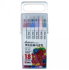 Набор двухсторонних скетч маркеров AIHAO AH516-18, 18 шт., квадратные