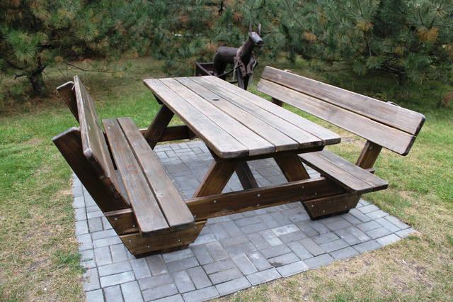 Стол с лавками деревянный большой ииз сосны. Цена 4500грн