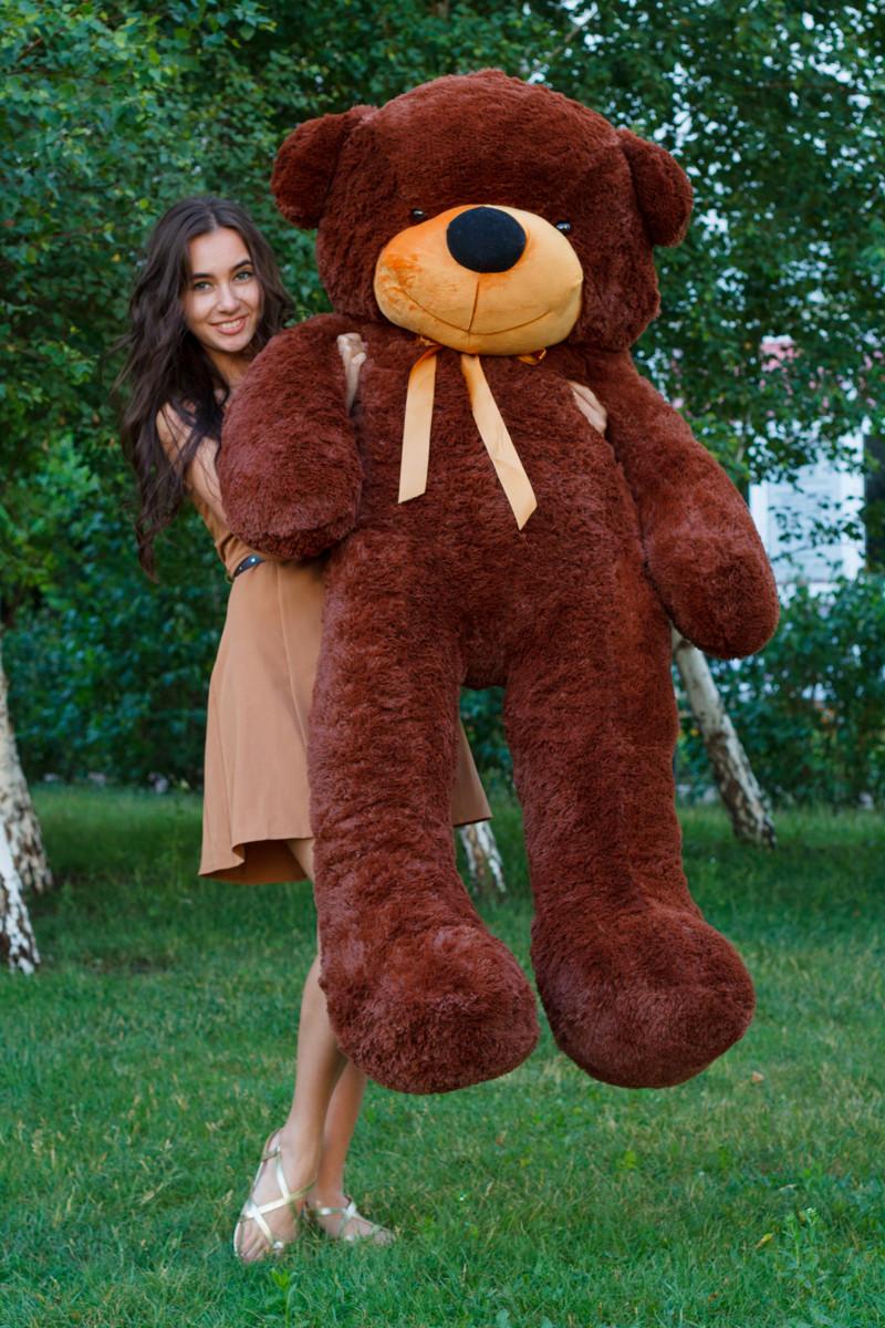 Виликий плюшевий ведмідь. Мяка іграшка ведмідь. Мякий ведмідь 180 см. Тедді коричневий