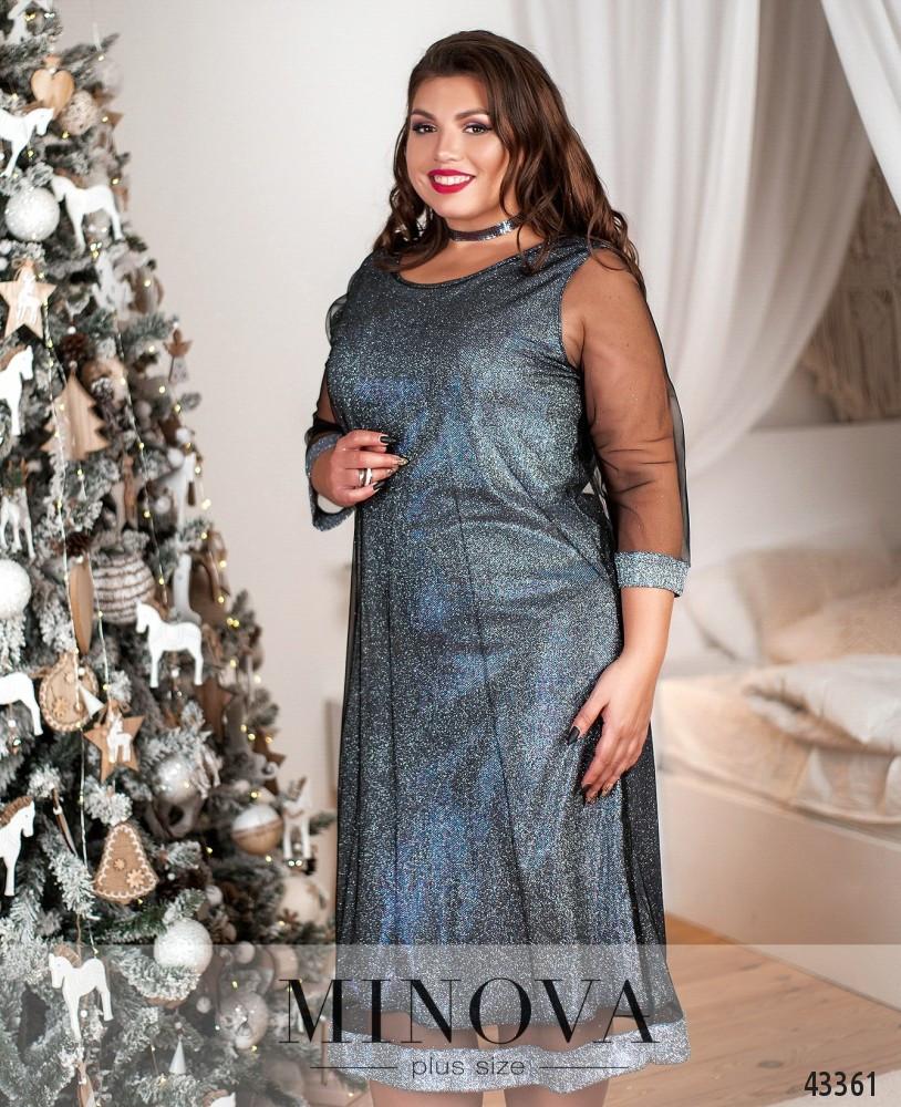 Святкове плаття полуприлигающего силуету з рукавами з сітки з 50 по 64 розмір