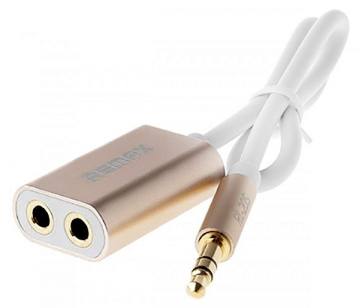 Аудио кабель разветвитель Remax AUX Sharing RL-S20 3.5 MiniJack, 0.23m gold