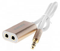 Аудио кабель разветвитель Remax AUX Sharing RL-S20 3.5 MiniJack, 0.23m gold, фото 1