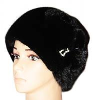 """Женская норковая шапка """"Конфетка, цветок"""" (черный)"""