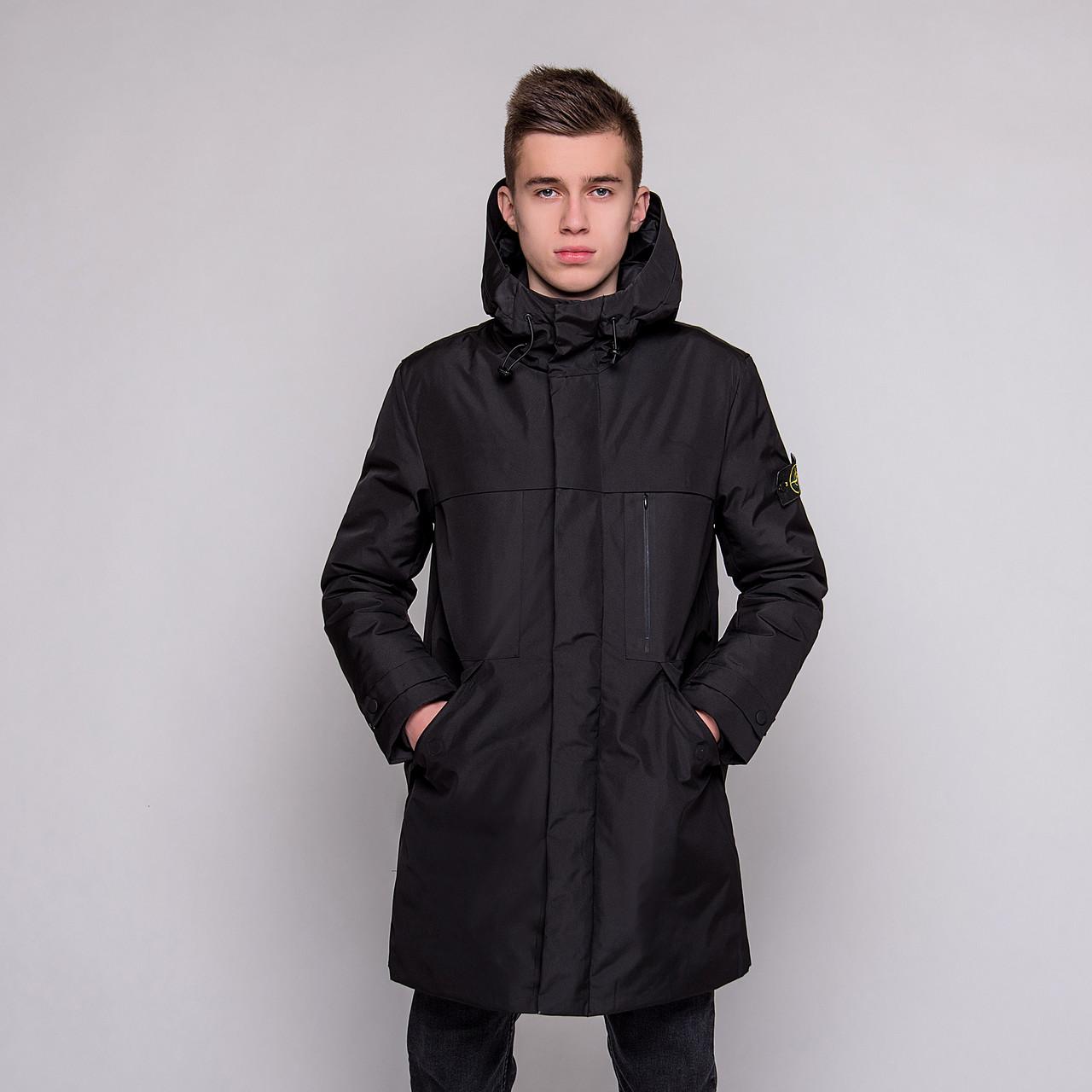 Чоловіча зимова куртка Stone Island, чорного кольору.