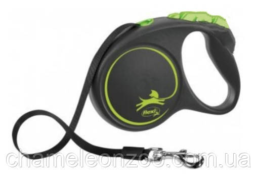 """Поводок рулетка Flexi """"BLACK DESIGN"""" M 5м до 25кг черный с зеленым (TX-12364)"""