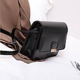 Женская классическая сумка на ремешке через плечо 031/11 черная, фото 5