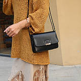 Женская классическая сумка на ремешке через плечо 031/11 черная, фото 8
