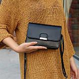 Женская классическая сумка на ремешке через плечо 031/11 черная, фото 10