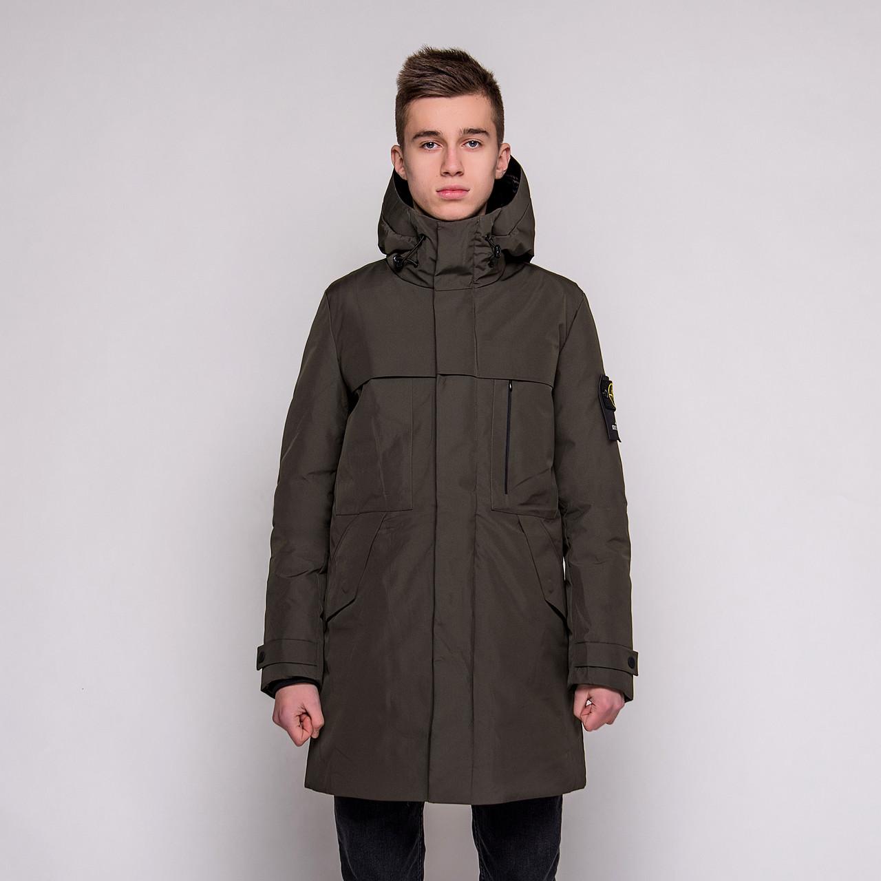 Чоловіча зимова куртка Stone Island, кавового кольору.