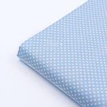 """Ткань хлопковая """"Пунктирный горошек"""" белый на голубом (№1928), фото 4"""
