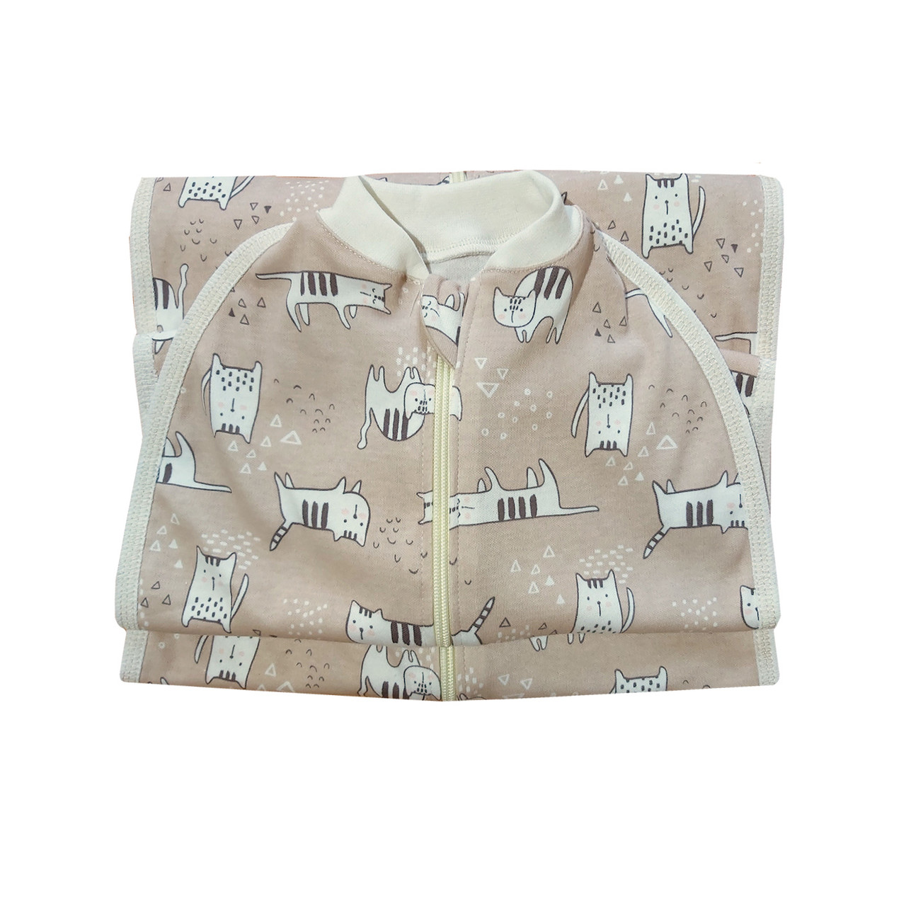 Безразмерная пеленка кокон на молнии интерлок коты 0-24 мес