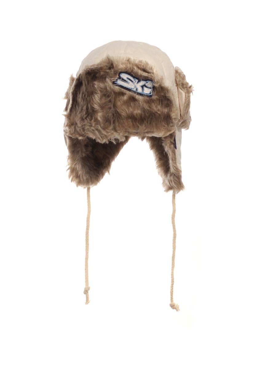 Бежевая зимняя шапочка, утеплена коричневым исскуственным мехом