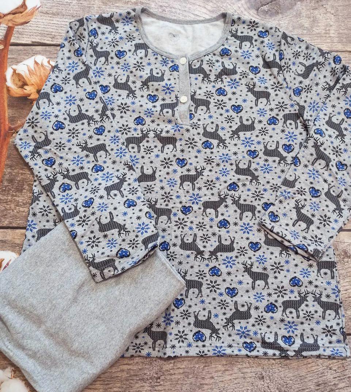 Теплая пижама с начесом женская зимняя домашняя хлопковая комплект кофта и стрейч штаны