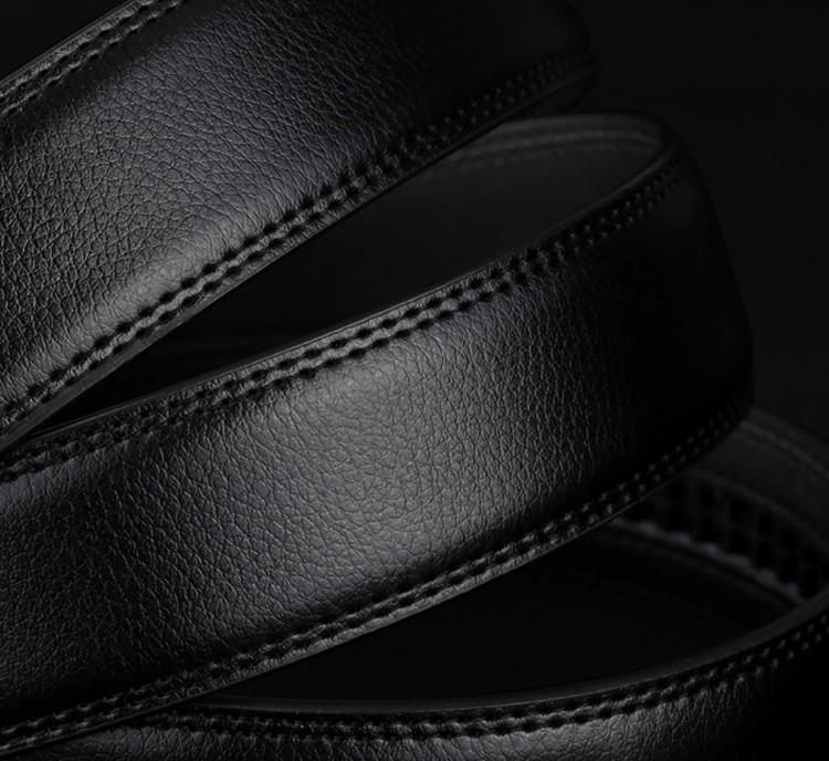Мужской Кожаный Ремень без Пряжки Черный 110-130см