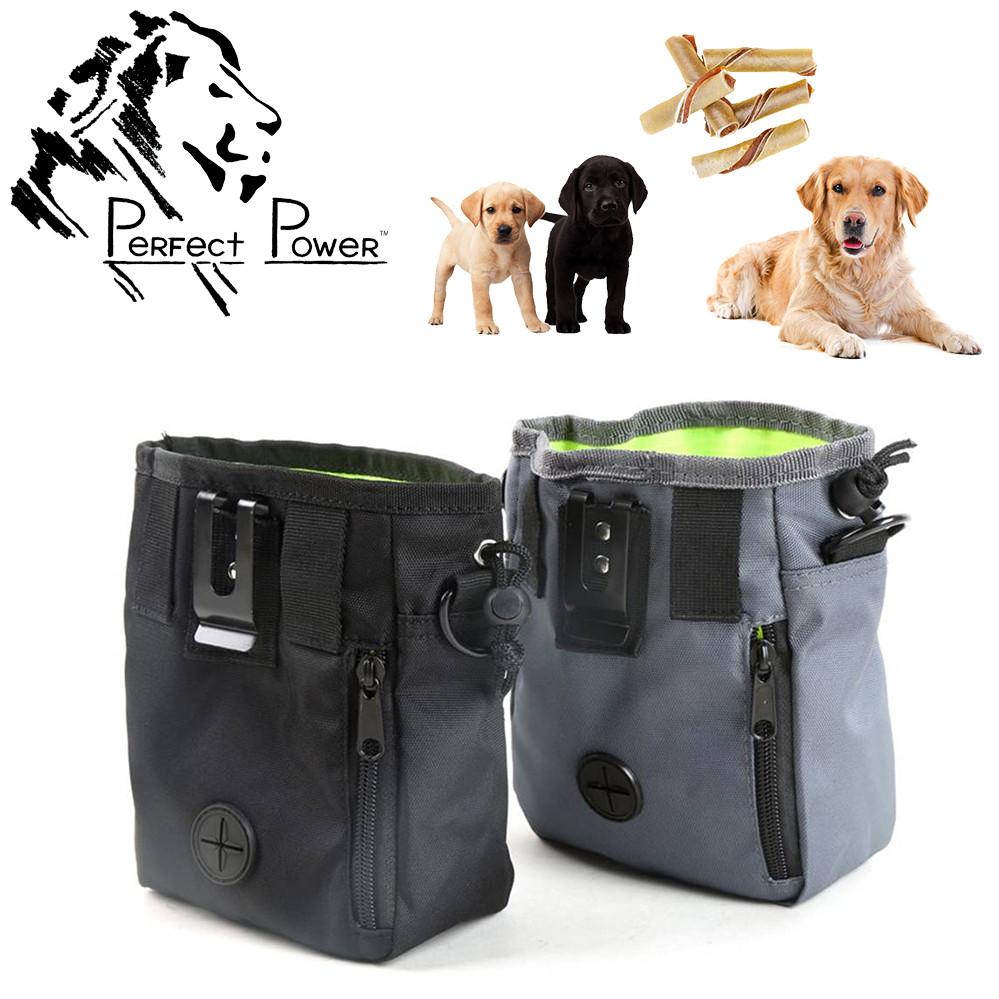 Сумка для дрессировки собак Perfect Power Черная Мешочек для угощений на пояс и через плечо с кармашками