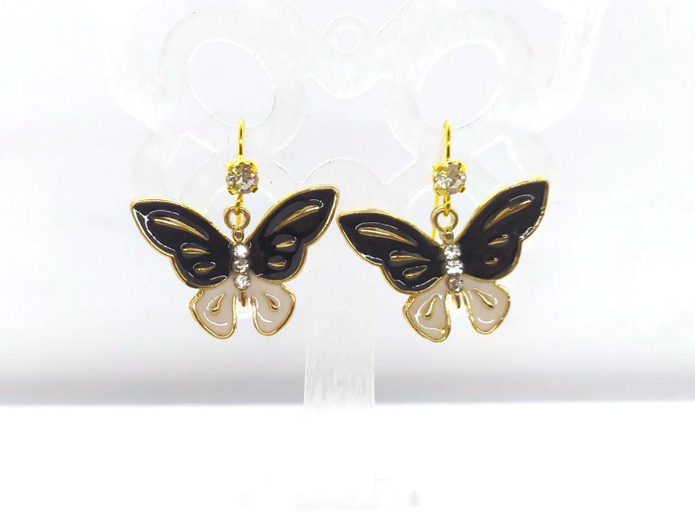 Серьги Бабочки черные со стразами #23