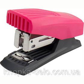Степлер пластиковый компактный серии Shell. Скоба №24/6. Мощность до 12 листов.Цвет розовый.
