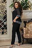 Стильный брючный костюм женский Креп дайвинг турецкий  Размер 50 52 54 56 58 60, фото 4