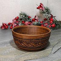Гончарная миска из красной глины с резкой 180 мм 800 мл, украинская керамика