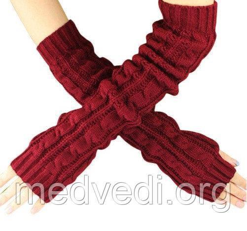 Довгі бордові рукавиці (рукавички без пальців) 50см