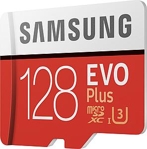 Карта памяти Samsung EVO Plus microSDXC 128GB UHS-I Class 10 + SD адаптер (MB-MC128HA/RU)